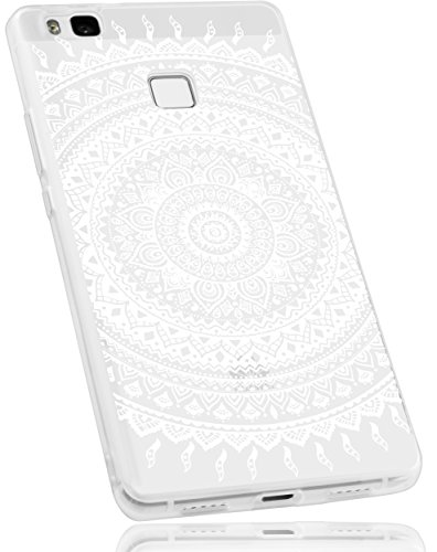 mumbi Hülle kompatibel mit Huawei P9 Lite Handy Hülle Handyhülle mit Motiv Mandala weiss, transparent