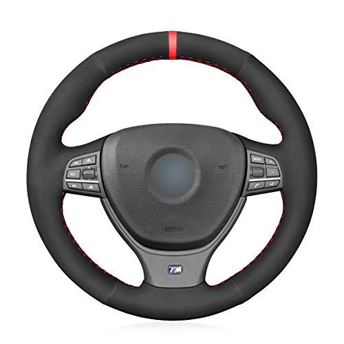 MEWANT Steering Wheel Cover Hand-Stitch Black Suede Steering Wheel Wrap for BMW M Sport F10 F11 F07 / M5 F10 2011-2013 / F12 F13 F06 / F01 F02