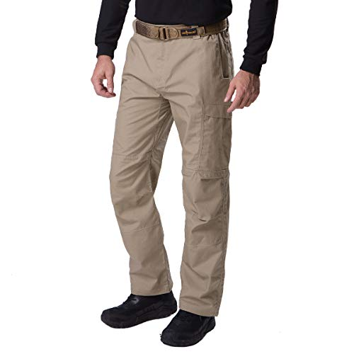 FREE SOLDIER Men's Waterproof Tactical Cargo Pants Lightweight Ripstop Hiking Work Pants with Pockets (Khaki,32W/32L)