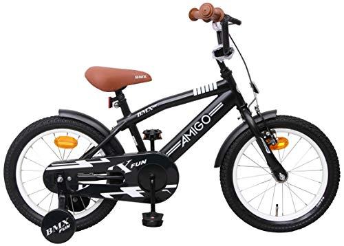 AMIGO BMX Fun - Bicicletta Bambini - 16'' (per 4-6 Anni) - con stabilizzanti - Nero