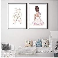 DLFALG バレエダンスガール赤ちゃん保育園の壁アート画像キャンバスポスターとプリントピンクの漫画の絵画キッズルームの家の装飾-40x60cmx2フレームなし