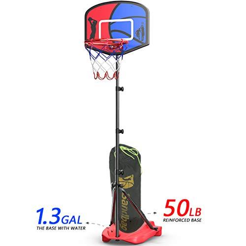 HAHAKEE Basketballkorb für Kinder, Verstellbares Tragbares Basketballset, Kinder-Basketballständer, Sportspielset, Netz, Ball, Luftpumpe und Sandsack