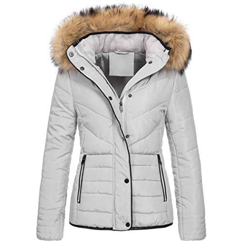 Elara Damen Steppjacke Winter Tailliert Grau Chunkyrayan MP19901 Grey 36 (S)