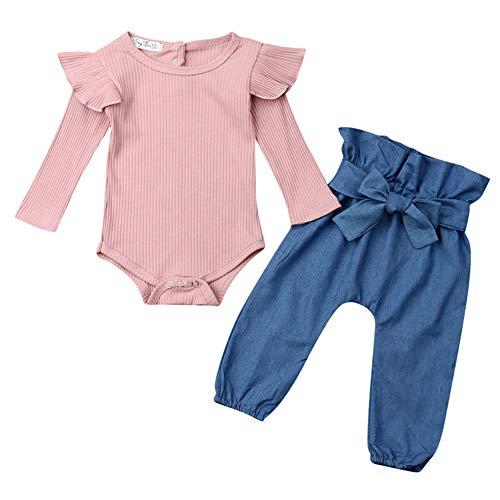 Geagodelia 3tlg Babykleidung Set Baby Mädchen Kleidung Outfit Langarm Body Strampler + Blumen Hose + Stirnband Neugeborene Kleinkinder Weiche Babyset T-28316 (0-6 Monate, Pink & Blau 754)