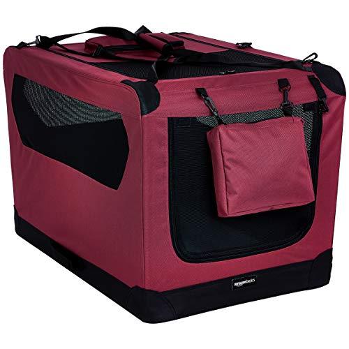 Amazon Basics - Hochwertige Haustier-Transportbox, faltbar, weich - 91 cm, ROT