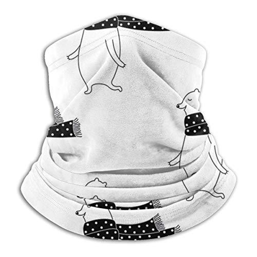 Kopftücher Cartoon Bärenmuster Schwarz-Weiß-Tupfenschal Gesichtsa für Sonnenstaub Wind Stirnband Biker Radfah