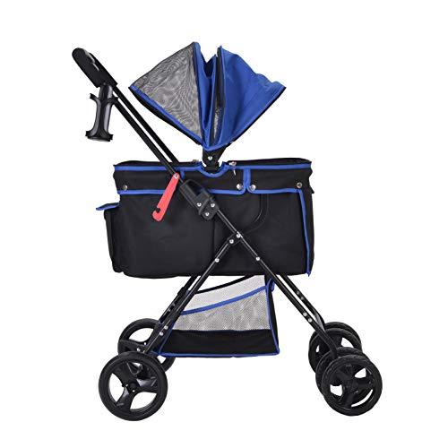 BTM ペットカート 中型犬 小型犬 折りたたみ 全体洗える フルオーペン設計 軽量 組立簡単 介護用 ドッグカート ペットバギー 犬 猫 動物 ペット用品 ブルー 大