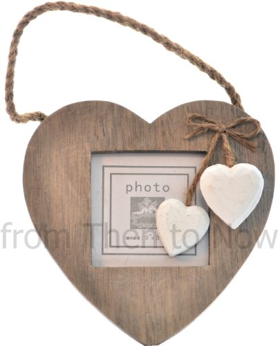 Chic & Shabby Single Grey Wooden Hanging Heart Photo Frame by Langs
