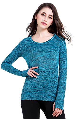 Damen Laufshirt Langarm Sport Shirt Funktionsshirt - Atmungsaktive Shirt Longsleeve Tops Fitness Workout Oberteil Shirt(Blau,M)