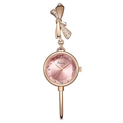Kimio K6435 Damen Uhren Wasserdicht Silm Minimalistisch Armband Elegant Beiläufig Quarzuhr für Damen (Gold-Pink)