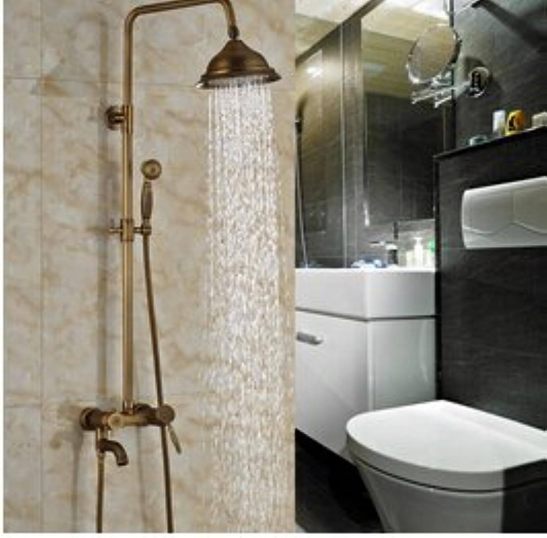 Luxurious shower Neue Messing antik Dusche Wasserhahn eingestellt ist, um einen Griff Auswurfrohr schwenken Whirlpool Badewanne Dusche Mischbatterie, Schokolade
