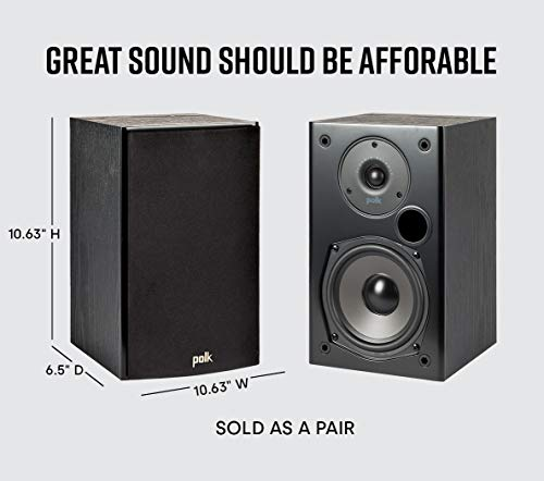 Polk Audio T15 Home Theater and Music Bookshelf Speaker (Black, 10.63 x 6.5 x 7.25-Inch, Set of 2)
