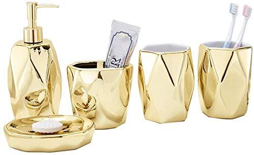 STBAAS Accessori for Il Bagno, Kit in Ceramica in Ceramica Oro, portaspazzolino, distributore di liquidi, Scatola di Sapone, 2 Tazze collutori (Size : B)