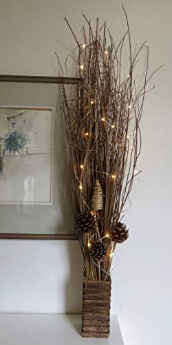 Fascio di rami di salice alto 95cm con 20luci a LED a batteria, perfetto per ogni ambiente e per tutto l'anno (rami naturali di salicecm con luci alti 95)