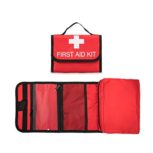 Jipemtra First Aid Bag Foldable Medicine Bag Small Red First Aid Kit Empty Outdoor Travel Rescue Bag Empty Pouch Tote First Responder Storage Compact Survival (Red Foldable #1)