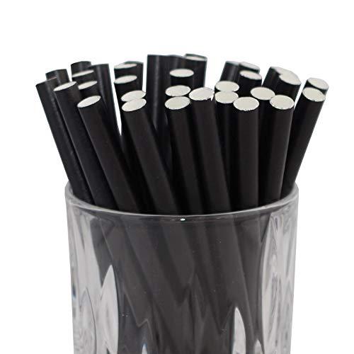 LUXENTU Strohhalme Trinkhalme aus Papier - 100, 300, 500 oder 1000 Stück - (100 Stück, Schwarz/Cocktail)