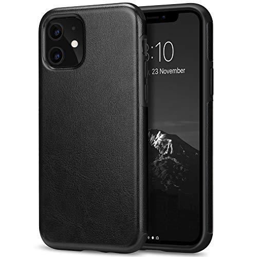 TENDLIN Kompatibel mit iPhone 11 Hülle Leder Schutzhülle und TPU Hybrid Handyhülle (Schwarz)