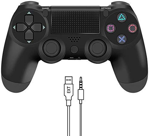 Wireless Controller for PS4, Precision Wireless Gamepad Controller Remote Joystick for Playstation 4/Pro/Slim with Dual Vibration Motors, Audio Function and USB Cable(Black)