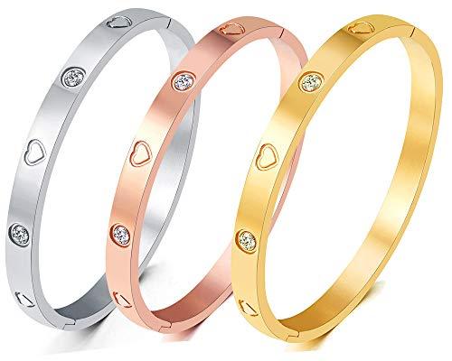 Christmas Gift MVCOLEDY Jewelry Gold /White Gold Plated Bangle Bracelet Heart Stone...