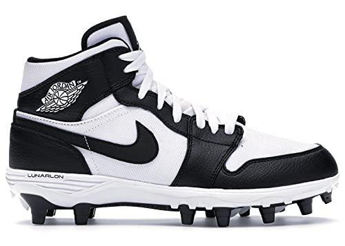 Jordan Nike Men's 1 TD Mid Football Cleat (White/Black/Black, 10.5 M US)