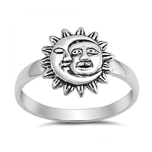 Sterlingsilber Mond und Sonne Ring