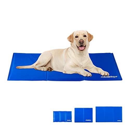 Relaxdays Kühlmatte Hund, selbstkühlend, abwischbar, robust, mit Gel, Kühldecke für Tiere, Kältedecke 60 x 100 cm, blau