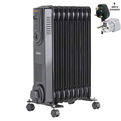 VonHaus 220 240 Volt Oil Filled Radiator Heater | 2000W -9Fin - 3 Power Settings, Adjustable Temperature, Thermal Safety Cut off - Black - Bundle With Dynastar Plug Adapter (NOT FOR USA) Heater Oil Space