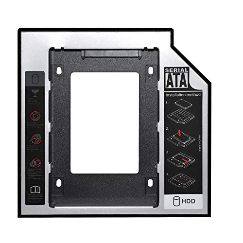 DEEPFOX Hard Drive Caddy Tray 12.7mm SATA to SATA 2nd HDD Enclosure [for SSD and HDD] Hard Disk Case Mounting Bracket Compatible with HP DELL ACER BenQ Asus Lenovo Laptop CD/DVD-ROM Drive Slot