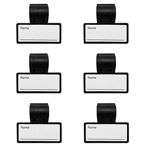 Placas de identificación de doble cara negras de plástico, soporte de tarjeta con clips para tubo de estetoscopio, 6 piezas