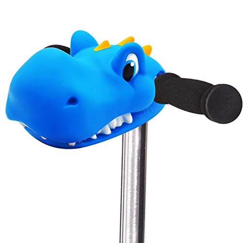 Scooter Accessories Blue Dinosaur Head Toy Gifts for Toddlers Kids Girls Decoration All of T-bar Micro Mini Kick Scooter & Bike & Jump Stick,Giveaway with a Pair of Streamers