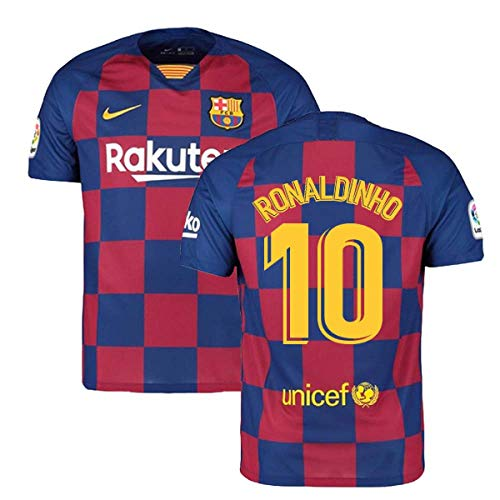 2019-2020 Barcelona Home Nike Football Soccer T-Shirt Trikot (Ronaldinho 10)