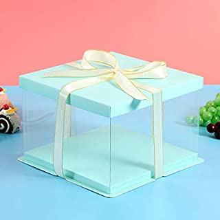 4Pack PET Clear Box carrier Packing - Cake Boxes Transparent Boxes, Candy Box, Clear Gift Boxes with lid for Wedding Party and Baby Shower Favors (8.3x 8.3x 6.3) (blue)