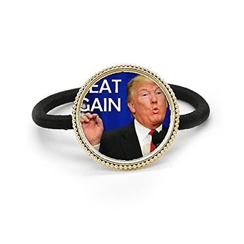 Gran Interesante Estadounidense Imagen ridículo Plata Metal Corbata de pelo y tocado de goma de la banda