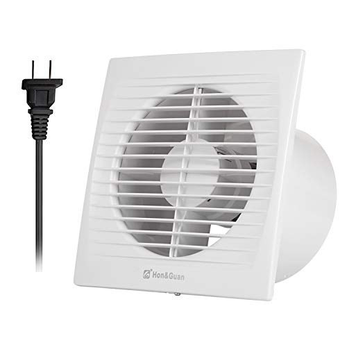 Hon&Guan 6 Inches Home Ventilation Fan Bathroom Garage Exhaust Fan Ceiling and Wall Mount Fan for Kitchen / Bathroom , Low Noise, Strong Exhaust (Energy-saving) 150C