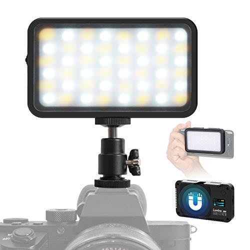 Lumino Videoleuchte LED Mini, Dimmbare Videolicht 2700K-6500K, Videolampe Klein CRI95+, EFF Mode Light Panel, Dauerlicht für Handy Smartphone Kamera Camcorder Sony Canon Nikon PL5