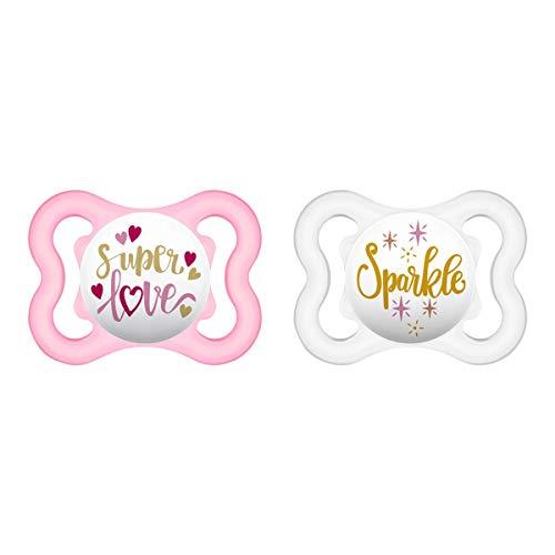 MAM Air Silikon Schnuller im 2er-Set, extra leichtes und luftiges Schilddesign, zahnfreundlicher Baby Schnuller aus speziellem MAM SkinSoft Silikon mit Schnullerbox, 0-6 Monate, Superlove
