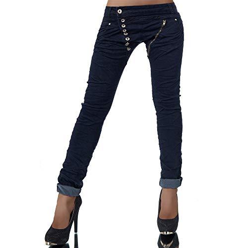 Damen Jeans Hose Boyfriend Damenjeans Harem Baggy Chino Haremshose L368, Farbe: Dunkelblau, Größe: 38