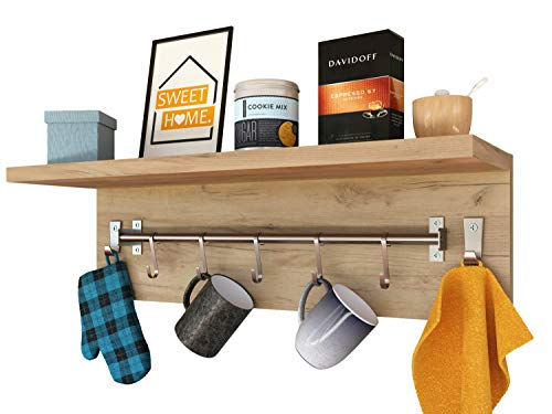 Epi-Tech Estante de pared para 5 tazas, toallero de pared, estante colgante – roble dorado