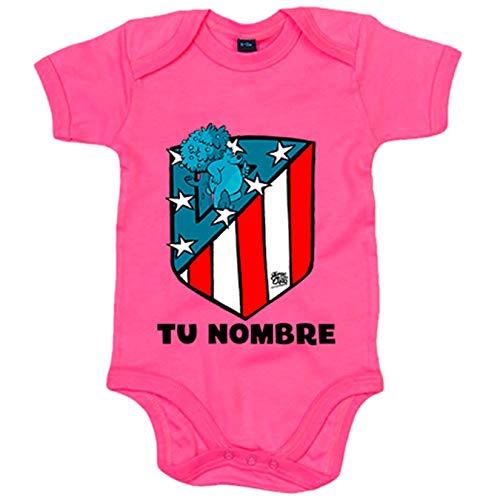 Body bebé Atlético de Madrid nuevo escudo personalizable con nombre - Rosa, 12-18 meses