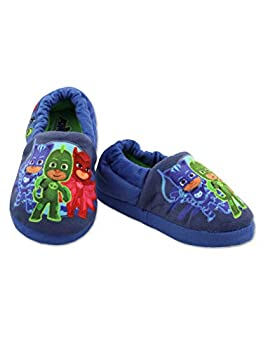 PJ Masks Boys Toddler Plush Aline Slippers with Non Slip Rubber Sole  11-12 M US Little Kid Blue/Multi