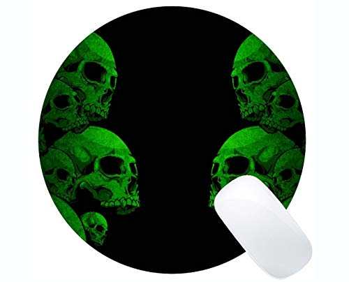 Kundengebundenes Rechteck rutschfestes Gummi Mousepad, Schädelgrünes Spiel-runde Mausunterlage