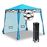 EzyFast Elegant Pop Up Beach Shelter, Compact Instant Canopy Tent, Portable Sports Cabana, 7.5 x 7.5 ft Base / 6 x 6 ft top for Hiking, Camping, Fishing, Picnic, Family Outings (Mosic Blue)