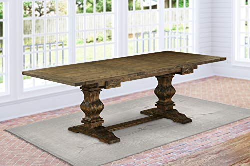 "East West Furniture LAT-07-TP Dining Table, Length 68""/92"" Width 42' Height 30.3', Distressed Jacobean Finish"