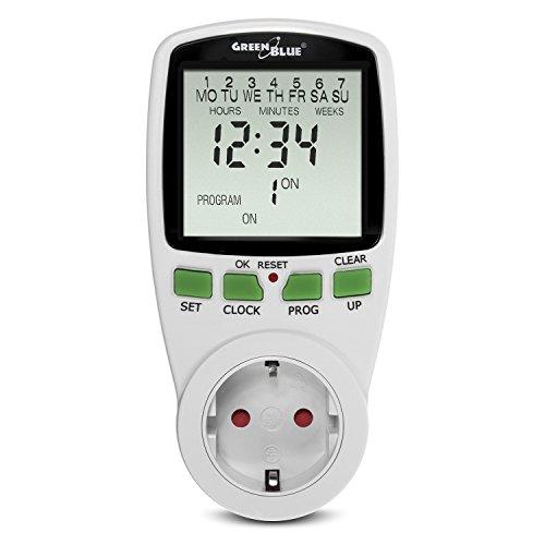 GreenBlue GB105G Digitale Zeitschaltuhr Steckdose Wochenzeitschaltuhr 7 Tage Schalter Timer 16A 16 Programme Max. 256 Programme/Woche