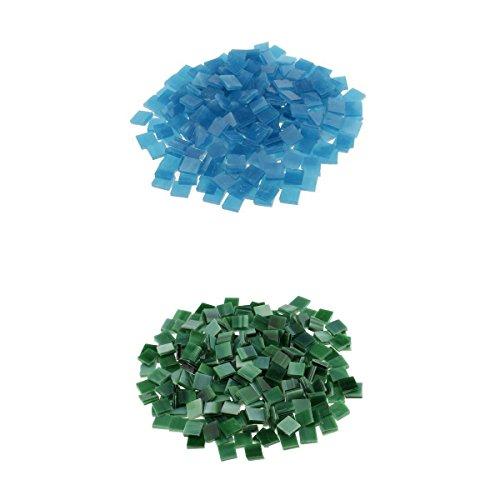 chiwanji Azulejos de Mosaico de Piezas de Vidrio Transparente Cuadrado Colorido de 320g Artesanía Tessera 10x10x3mm