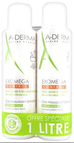A-Derma Exomega Control Gel Moussant Émollient Anti-Grattage 2x500ml