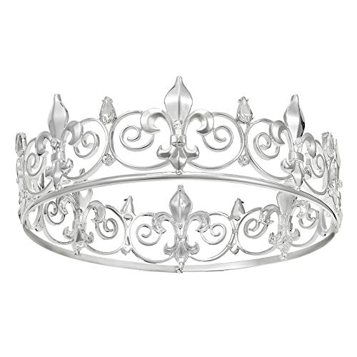SWEETV Royal King Crown for Men - Metal Prince Crowns and Tiaras, Full Round Birthday Party Hats, Medieval Costume Accessories for Prom Wedding Halloween, Silver