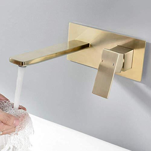 Zixin Bassin-Hahn mit verdecktem Waschbecken Wasserhahn gebürstet Gold in-Wand Basin Spout Mischer-Hahn-Set Kombination Blanoir aus massivem Messing Tap