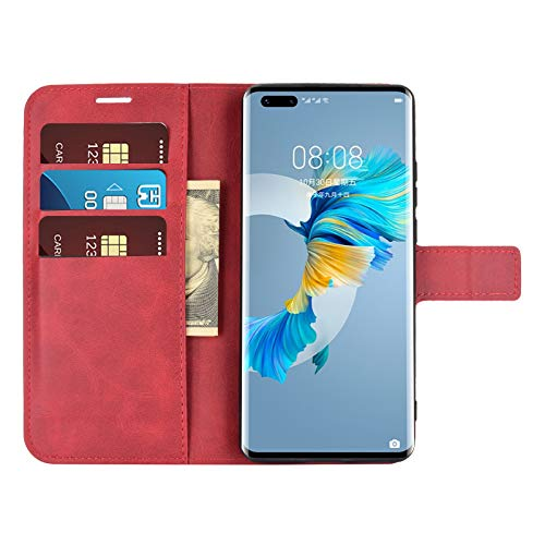 DAMAIJIA für Huawei Mate 40 Pro Hüllen Klapphülle PU Leder Silikon Wallet Schutzhülle Schutz Mobiltelefon Flip Back Cover für Mate 40 Pro Huawei 2020 Tasche Handy Zubehör (Red)
