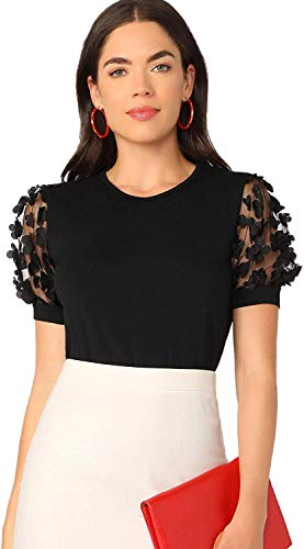 Romwe Women's Summer Short Sleeve Mock Neck Casual Blouse Tops Floral Black Small